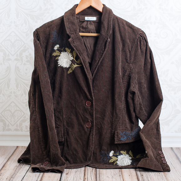 Johnny Was Jackets & Blazers - JOHNNY WAS  Corduory Embroidered Brown Blazer